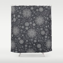Beautiful Flowers in Faded Black and White Vintage Floral Design Shower Curtain