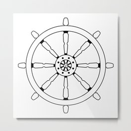 Dharma Wheel Metal Print