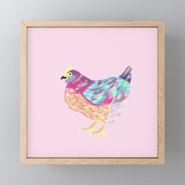 Pretty Colorful Chicken Pink, Teal, Yellow, Teal // Vibrant Chicken Framed Mini Art Print