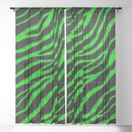 Ripped SpaceTime Stripes - Green Sheer Curtain