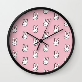 Cute Bunny Pattern (Pink) Wall Clock