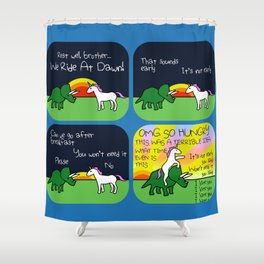We Ride At Dawn! (Horned Warrior Friends) Shower Curtain