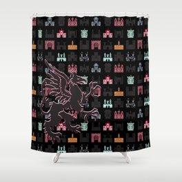 Gryphon on a Field of Castles Shower Curtain