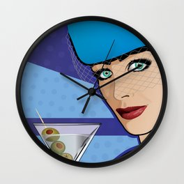 Beautiful Pop Art Girl with Martini and Stewardess Hat Wall Clock