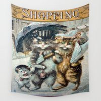 shopping Wall Tapestries featuring Shopping by Frankie Cat