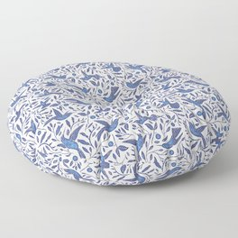 Delft Blue Humming Birds & Leaves Pattern Floor Pillow