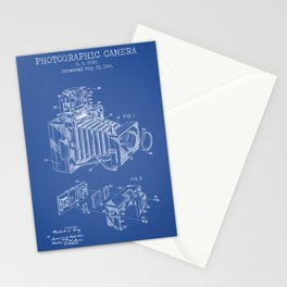 Photographic Camera blue patent Stationery Cards