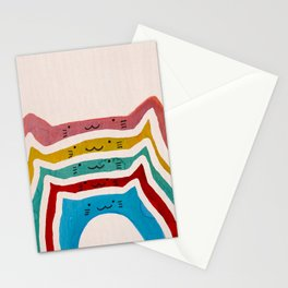 Hand Painted Watercolor Pastel Rainbow Cats Stationery Cards