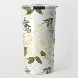 Modern yellow ivory green hand painted roses floral Travel Mug