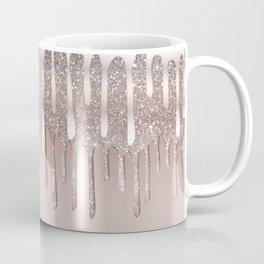 Icy Pink Rose Gold Diamond Dust Glitter Drips Coffee Mug