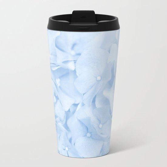 Pastel Blue Flowers Metal Travel Mug