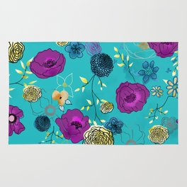 Violet large floral print on turquoise Rug