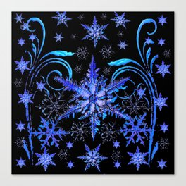 DECORATIVE BLACK & BLUE WINTER SNOWFLAKE FANTASY ART Canvas Print