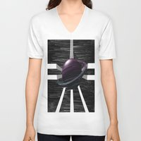 saturn V-neck T-shirts featuring Saturn by Isaak_Rodriguez