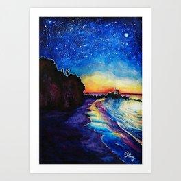 Starry Sunset - Corona Del Mar Beach Art Print