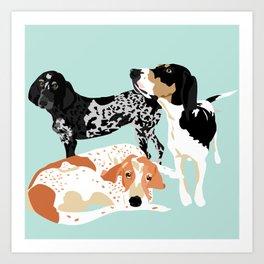 Coonhound Trio Art Print