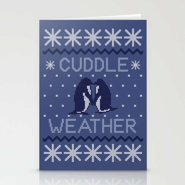 Cuddle Weather Penguins Cuddling Stationery Cards