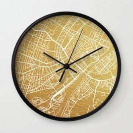 Gold Copenhagen map Wall Clock