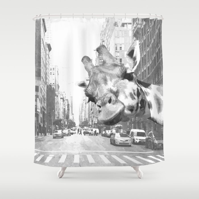 Black And White Selfie Giraffe In NYC Shower Curtain