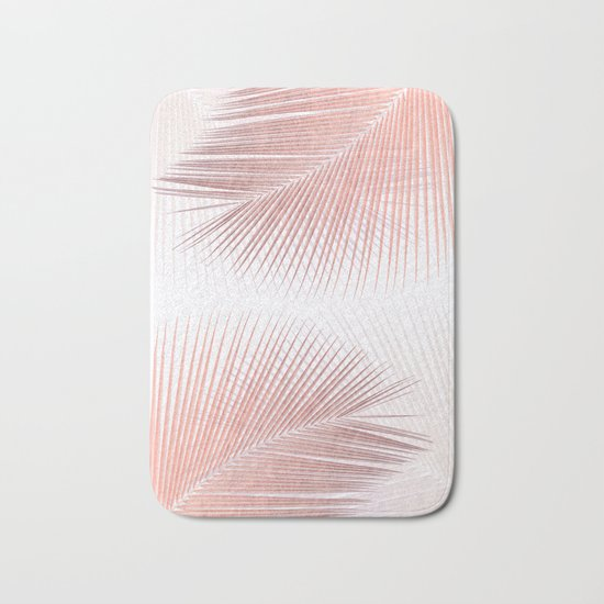 Palm leaf synchronicity - rose gold Bath Mat