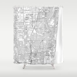 Fort Lauderdale White Map Shower Curtain
