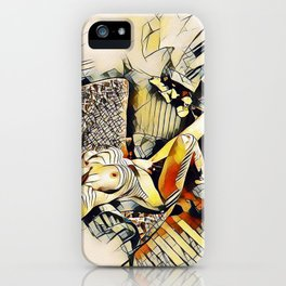 4406s-JG Sensual Nude in Chair By Window Erotic Kandinsky Style Art iPhone Case