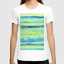 Spring Colors Stripes Pattern Blue Green Yellow T-shirt