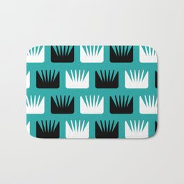 Mid Century Modern Abstract Flowers Teal Bath Mat