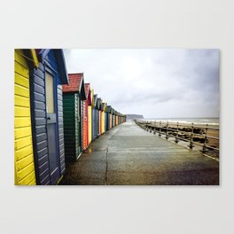 Whitby beach huts Canvas Print