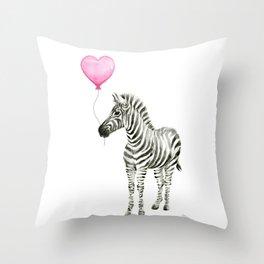 Zebra with Pink Balloon Throw Pillow