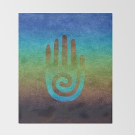 Spiral Hand Rainbow Grunge Throw Blanket