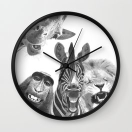 Black and White Jungle Animal Friends Wall Clock