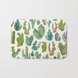Summer Watercolor Cactus Bath Mat