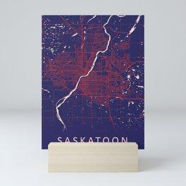 Saskatoon, SK, Canada, Blue, White, City, Map Mini Art Print