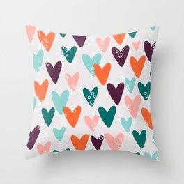 Colored hearts seamless pattern Throw Pillow