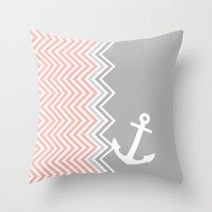 Coral Nautical Chevron  Throw Pillow