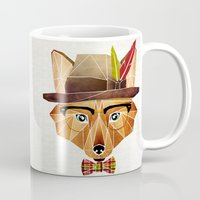 mr fox Mugs featuring mr. fox by Manoou