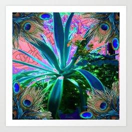 PEACOCK NATURE CORAL-BLUE GARDEN ART Art Print