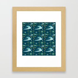 Mid Century Modern Boomerangs in Blues Framed Art Print