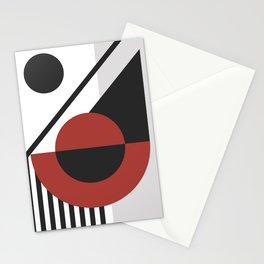 42503-6-p1, Set Red & Black, Bauhaus Style Art, Boho decor Stationery Cards