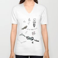 tattoos V-neck T-shirts featuring Louis's Tattoos by Kate & Co.