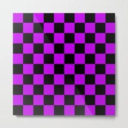 Black and Purple Checkerboard Pattern Metal Print