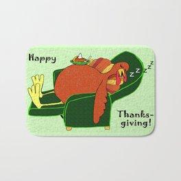 Sleeping Turkey with Pumpkin Pie, green  Bath Mat