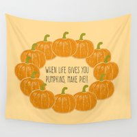 pie Wall Tapestries featuring Pumpkin Pie by Laura Maria Designs