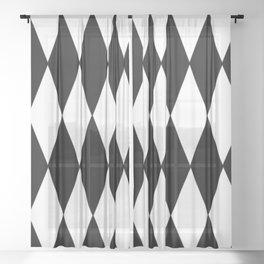 LARGE BLACK AND WHITE HARLEQUIN DIAMOND PATTERN Sheer Curtain