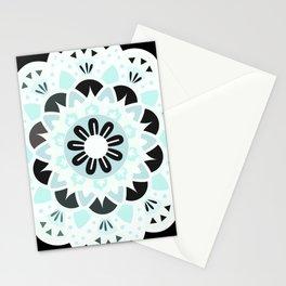 mandala grey and blue Stationery Cards