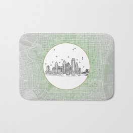 Philadelphia, Pennsylvania City Skyline Illustration Drawing Bath Mat