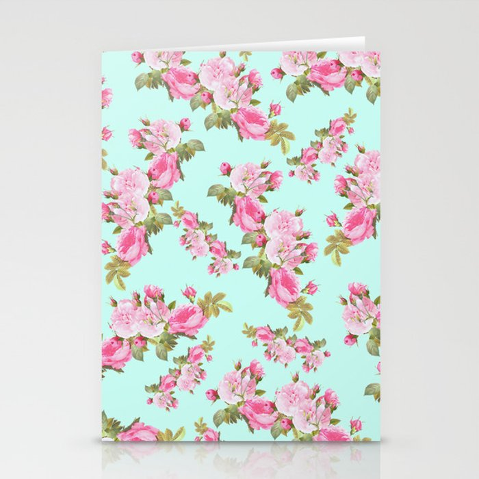 Pink & Mint Green Floral Stationery Cards