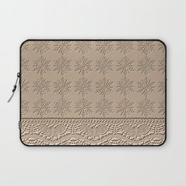 Lace and Stars in Coffee Color Chenille Pattern Laptop Sleeve