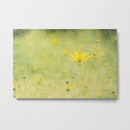 Green with buttercups Metal Print